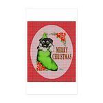 Merry Christmas Puppy Sticker (Rectangle 10 pk)