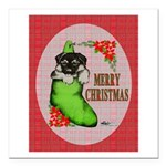 """Merry Christmas Puppy Square Car Magnet 3"""" x"""