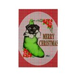 Merry Christmas Puppy Rectangle Magnet (100 pack)
