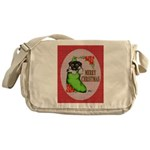 Merry Christmas Puppy Messenger Bag