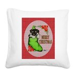 Merry Christmas Puppy Square Canvas Pillow
