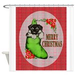 Merry Christmas Puppy Shower Curtain