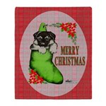 Merry Christmas Puppy Throw Blanket
