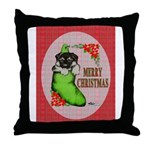 Merry Christmas Puppy Throw Pillow
