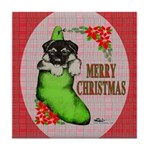 Merry Christmas Puppy Tile Coaster