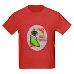 Merry Christmas Puppy Kids Dark T-Shirt