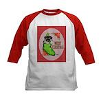 Merry Christmas Puppy Kids Baseball Jersey