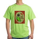 Merry Christmas Puppy Green T-Shirt
