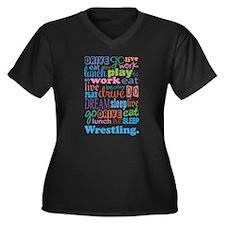 Wrestling Women's Plus Size V-Neck Dark T-Shirt