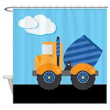 Blue Cement Truck Kids Shower Curtain