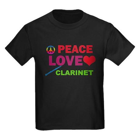 Peace Love Clarinet Kids Dark T-Shirt