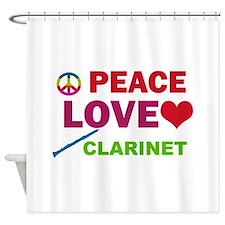 Peace Love Clarinet Shower Curtain