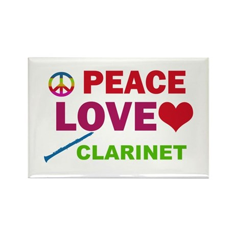 Peace Love Clarinet Rectangle Magnet (100 pack)