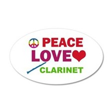 Peace Love Clarinet Wall Decal