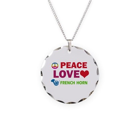 Peace Love French Horn Necklace Circle Charm