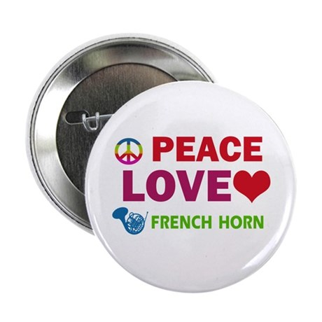 """Peace Love French Horn 2.25"""" Button (100 pack)"""