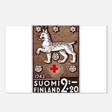 1943 Finland Lynx Coat of Arms Postage Stamp Postc