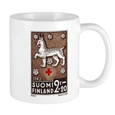 1943 Finland Lynx Coat of Arms Postage Stamp Small Mug