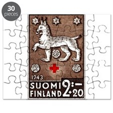 1943 Finland Lynx Coat of Arms Postage Stamp Puzzl