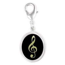 Gold Treble Clef on Black Silver Oval Charm