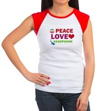 Peace Love Saxophone Women's Cap Sleeve T-Shirt