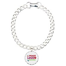 Peace Love Saxophone Charm Bracelet, One Charm