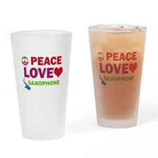 Peace Love Saxophone Drinking Glass