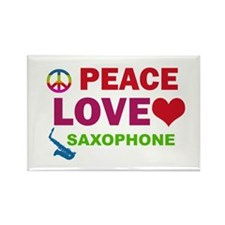 Peace Love Saxophone Rectangle Magnet