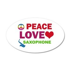 Peace Love Saxophone 35x21 Oval Wall Decal