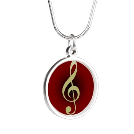 Gold Treble Clef on Red/Black Circle Silver Round