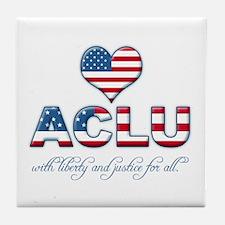 I <3 ACLU Tile Coaster