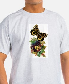 Pansy Butterfly Ash Grey T-Shirt