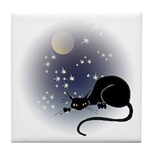 Nocturnal Black Cat II Tile Coaster
