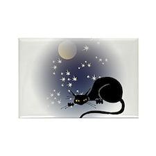 Nocturnal Black Cat II Rectangle Magnet