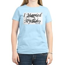 I Married My Hero, NAVY WIFE Women's Pink T-Shirt
