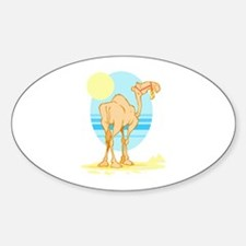 Camel in the Desert Oval Stickers