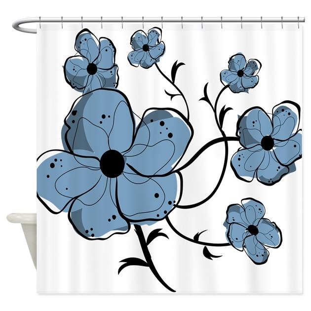 Modern Blue And Black Floral Shower Curtain By Auslandgifts