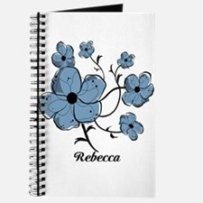 Personalized modern blue floral design Journal
