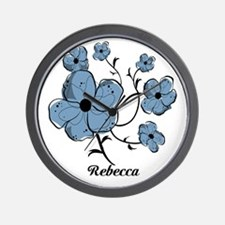 Personalized modern blue floral design Wall Clock