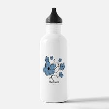 Personalized modern blue floral design Water Bottle