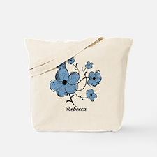 Personalized modern blue floral design Tote Bag