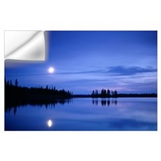 Moon over a lake Wall Decal