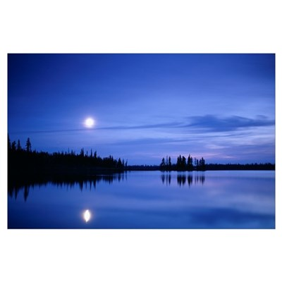 Moon over a lake Poster