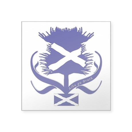 "Scottish Navy Blue Thistle Square Sticker 3"" x 3"""