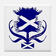 Scottish Navy Blue Thistle Tile Coaster