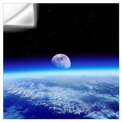 Moon rising over earth 39 s horizon wall decal for Earth rising wall mural