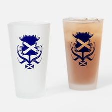 Scottish Navy Blue Thistle Drinking Glass