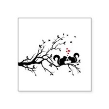 Squrrels with red hearts on tree branch Square Sti
