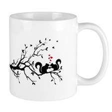 Squrrels with red hearts on tree branch Mug