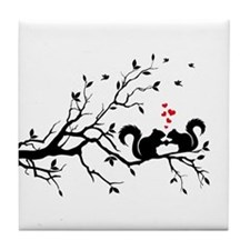 Squrrels with red hearts on tree branch Tile Coast